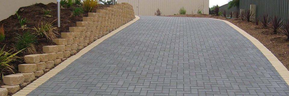 driveway paving & slopped retaining wall goolwa